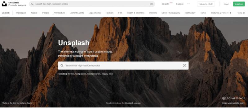 ブログにおすすめなフリー画像サイト②Unsplash